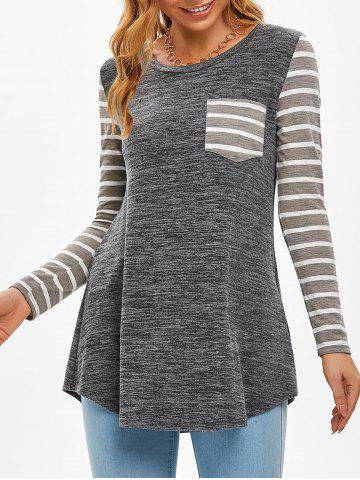 Striped One Pocket Long Sleeve Casual T Shirt - ASH GRAY - L