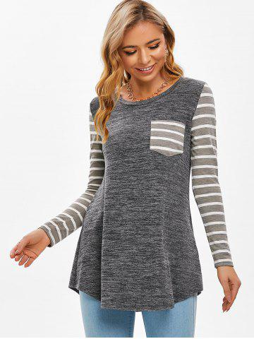 Striped One Pocket Long Sleeve Casual T Shirt
