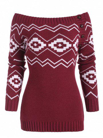 Button Side Off Shoulder Zig Zag Geometric Sweater - DEEP RED - 2XL