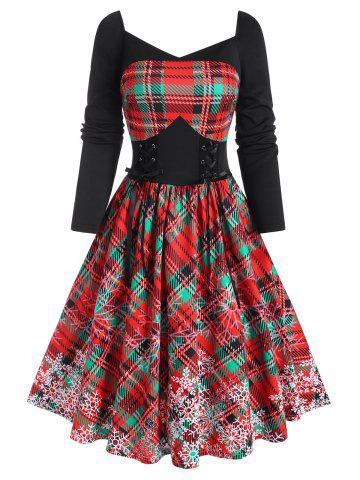 Sweetheart Neck Xmas Snowflake Print Checked Lace-up Dress