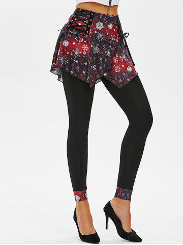 Lace-up Christmas Snowflake Galaxy Print Skirted Leggings - DEEP RED - M