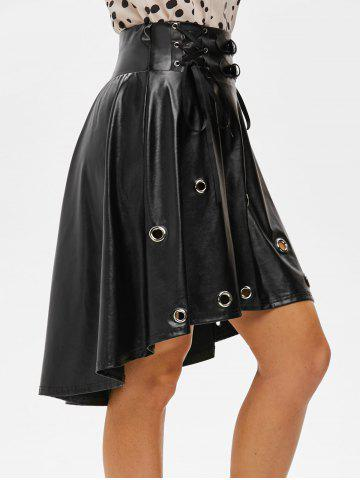 Punk Lace Up Grommets High Low Faux Leather Skirt