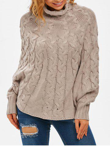 High Neck Cable Knit Poncho Sweater - LIGHT COFFEE - L