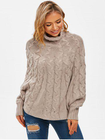 High Neck Cable Knit Poncho Sweater