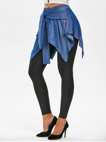 Chambray Overlay Waist Tie Skirted Leggings - BLACK - L