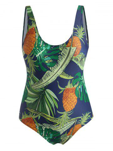Plus Size Tropical Pineapple Backless One-piece Swimsuit - DEEP GREEN - 2XL