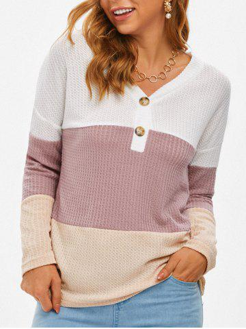 Cuello en V ColorBlock Honeycomb Punto de punto - MULTI - XL
