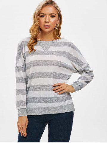 Bicolor Striped Drop Shoulder Slit Knitwear