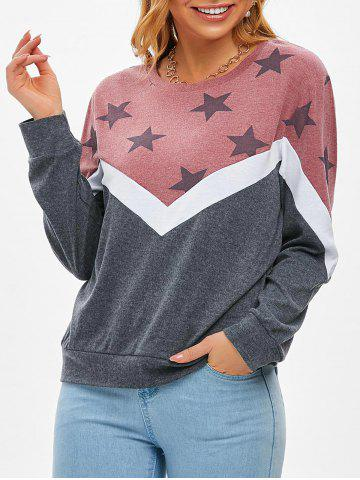 STAR COLORBLOCK Jersey Knit Casual Sudadera - LIGHT PINK - XL