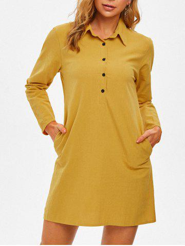 Half Button Slip Pockets Long Sleeve Shirt Dress