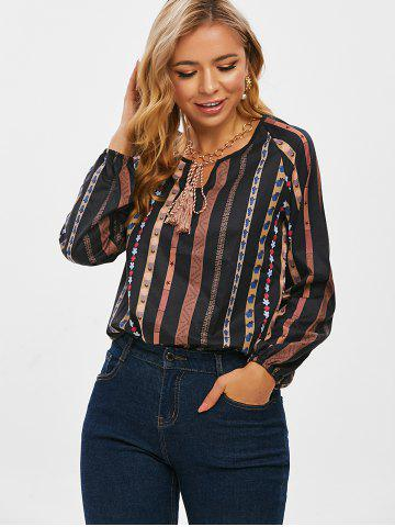 Tie Tassels Bohemian Printed Long Sleeve Blouse