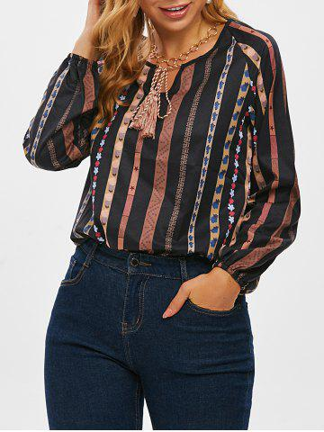 Tie Tassels Bohemian Printed Long Sleeve Blouse - BLACK - 3XL