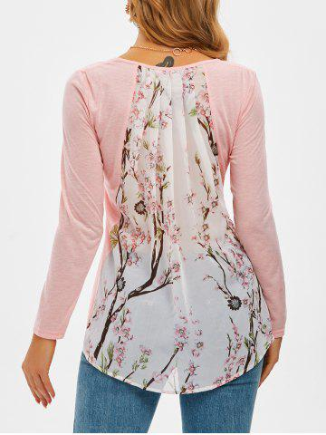 Peach Blossom Print High Low Chiffon Panel T Shirt - PINK - M