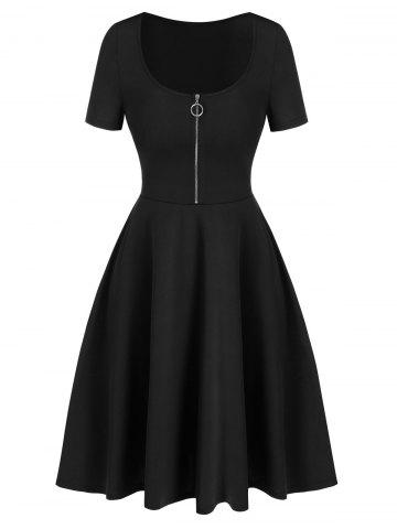 Half Zip Short Sleeve Flare Dress - BLACK - L