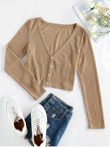 Plus Size V Neck Ribbed Button Up Cardigan - LIGHT COFFEE - L