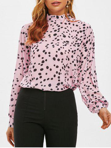 Stand Collar Leopard Print Blouse