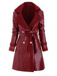 Faux Leather Shearling Insert Pocket Belted Coat -