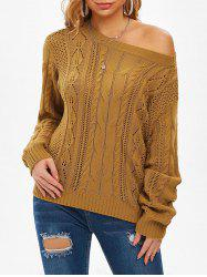 Cable Knit Open Knit Jumper Sweater -