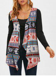 Tribal Open Front Waterfall Collar Cardigan -