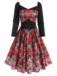 Sweetheart Neck Xmas Snowflake Print Checked Lace-up Dress -