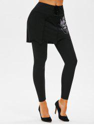 Lace-up Butterfly Print Skirted Leggings -