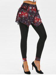 Lace-up Christmas Snowflake Galaxy Print Skirted Leggings -