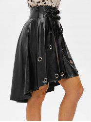 Punk Lace Up Grommets High Low Faux Leather Skirt -