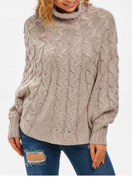 High Neck Cable Knit Poncho Sweater -