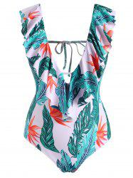 Plus Size Leaf Flounce Backless Plunging One-piece Swimsuit -