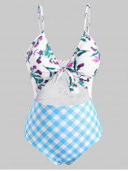 Plus Size Flower Plaid Knotted Cutout One-piece Swimsuit -