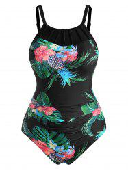 Plus Size Flower Pineapple Ladder Strap One-piece Swimsuit -