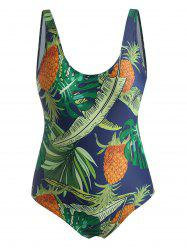 Plus Size Tropical Pineapple Backless One-piece Swimsuit -