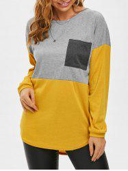 Colorblock Front Pocket Jersey Knit Long Tee -