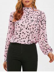 Stand Collar Leopard Print Blouse -