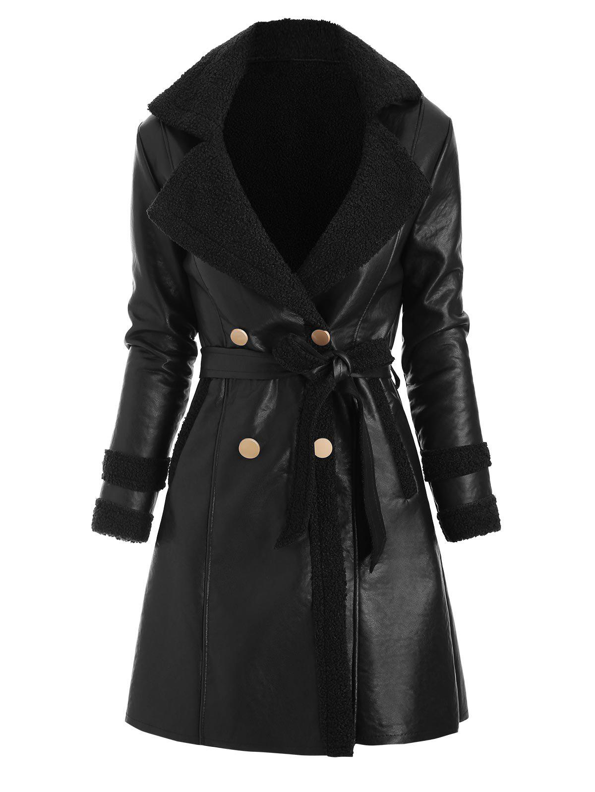 Buy Faux Leather Shearling Insert Pocket Belted Coat