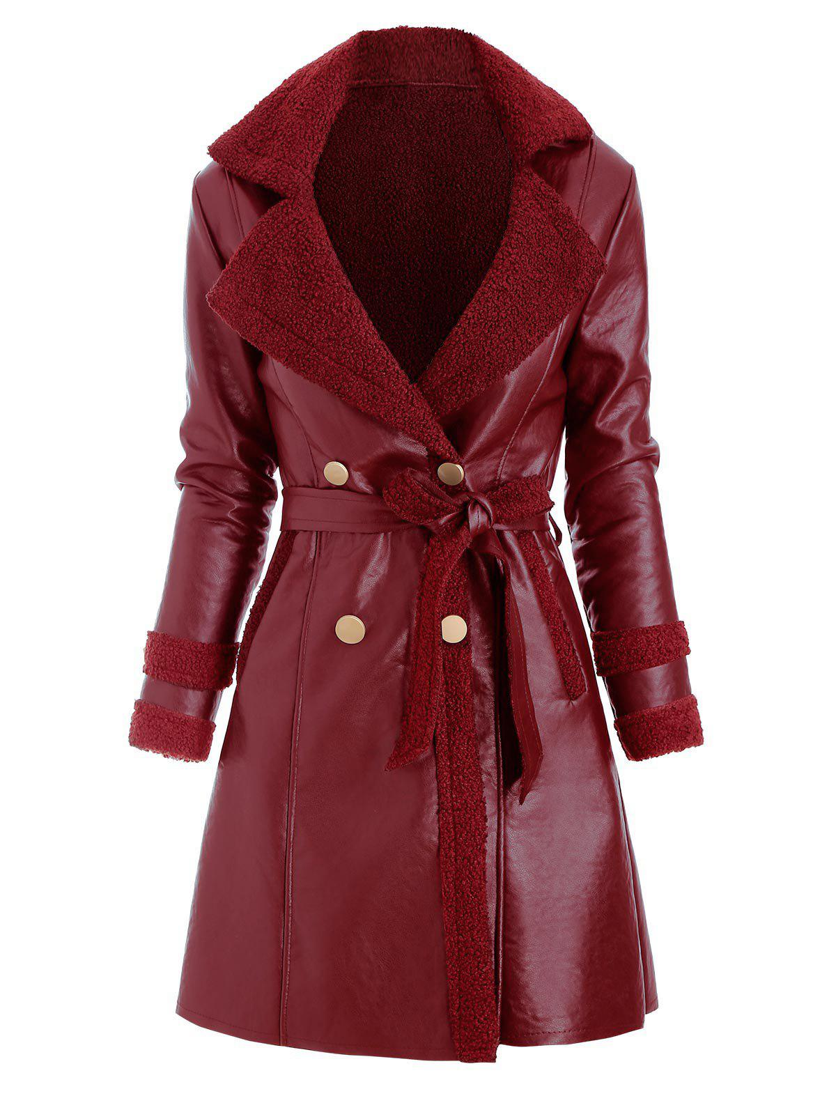 Discount Faux Leather Shearling Insert Pocket Belted Coat