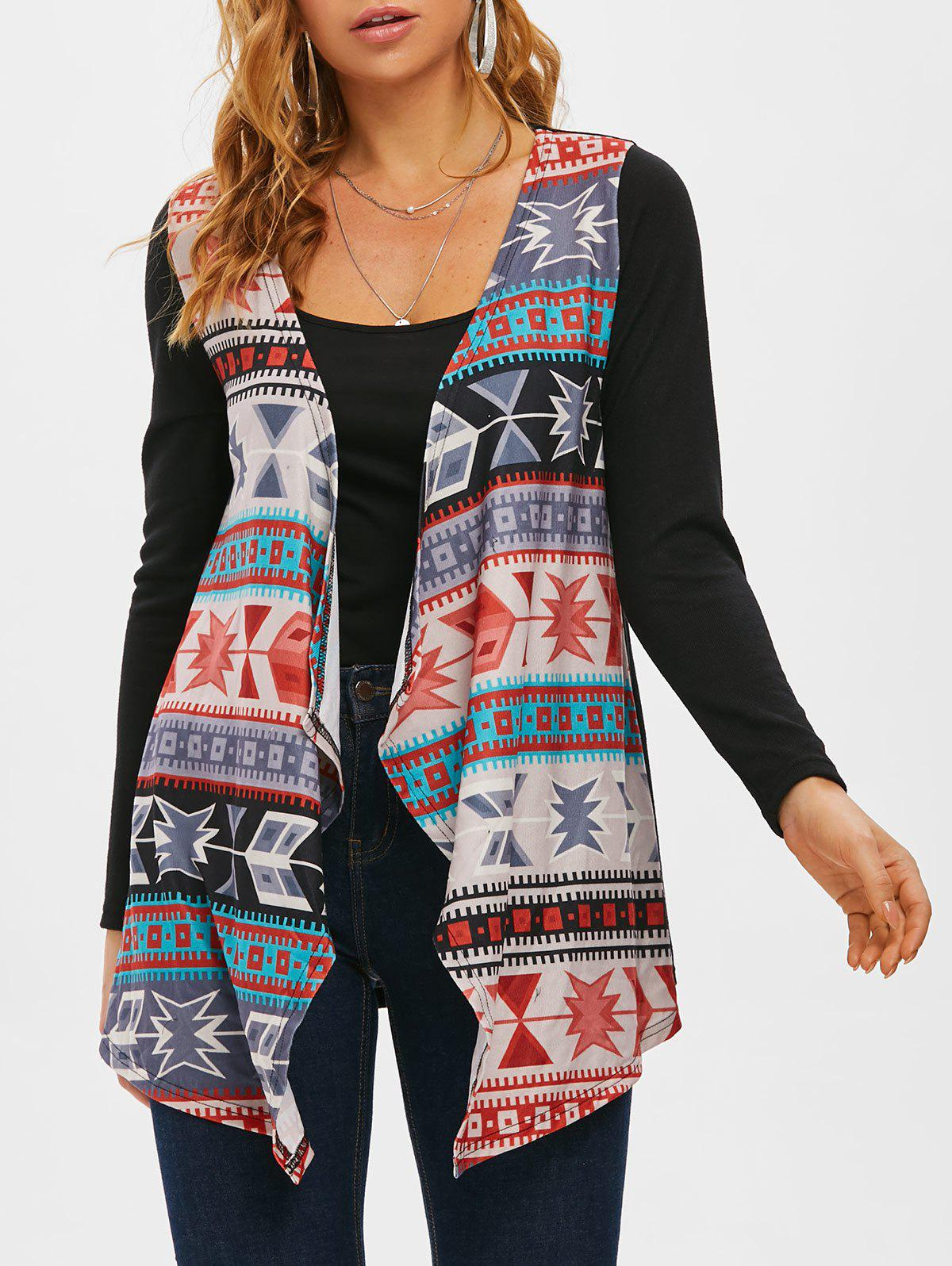 Fancy Tribal Open Front Waterfall Collar Cardigan