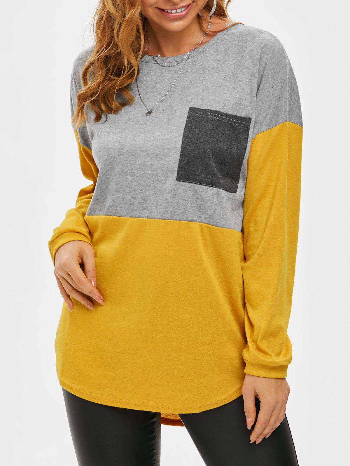 Shops Colorblock Front Pocket Jersey Knit Long Tee