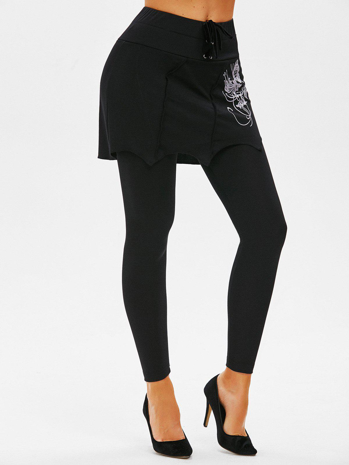 Affordable Lace-up Butterfly Print Skirted Leggings