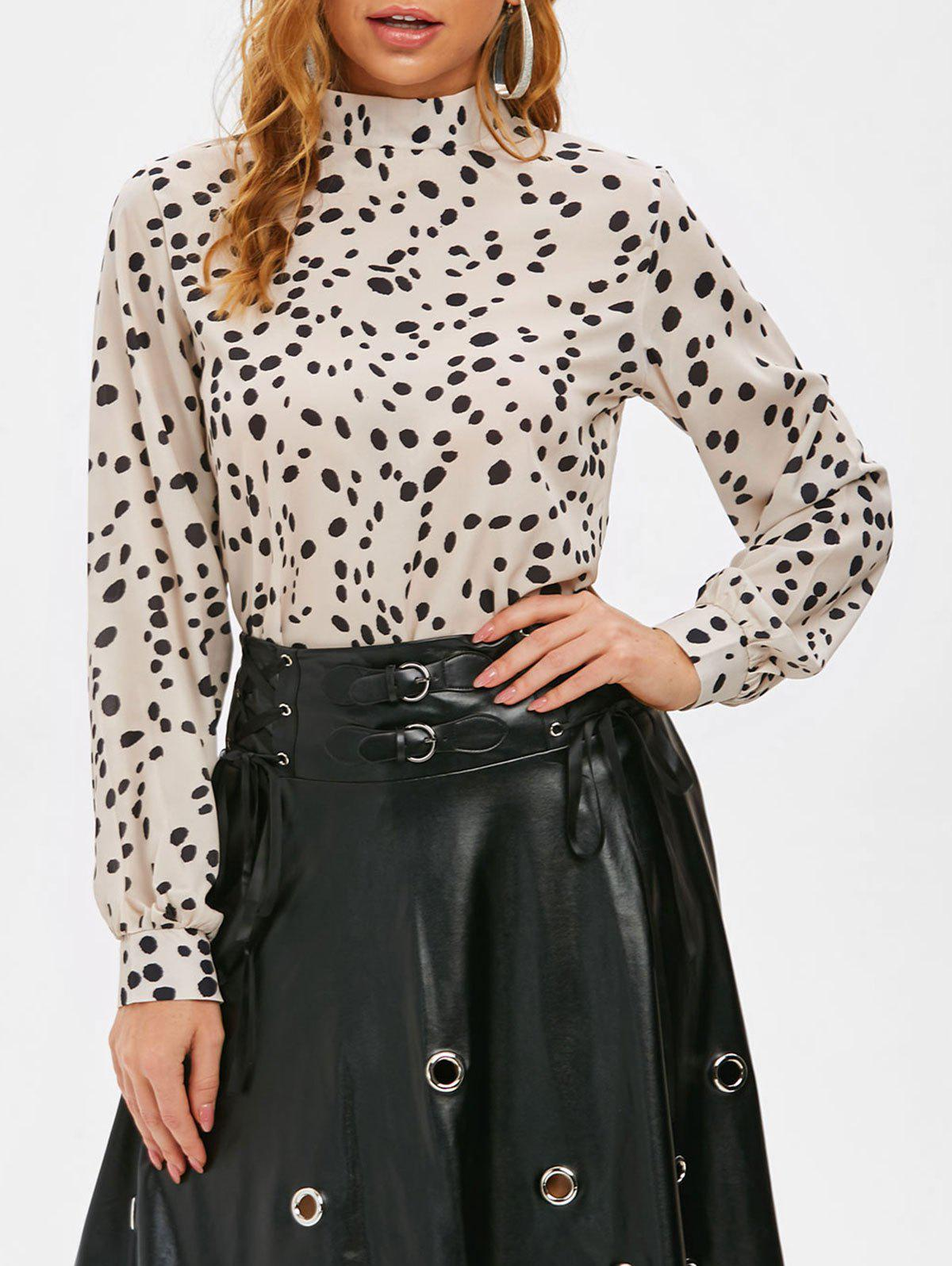 Outfits Stand Collar Leopard Print Blouse