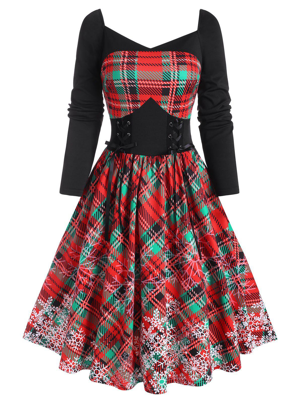 Shop Sweetheart Neck Xmas Snowflake Print Checked Lace-up Dress