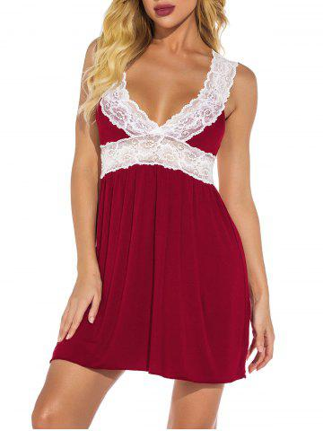 Plunge Lace Panel Jersey Chemise - DEEP RED - 2XL