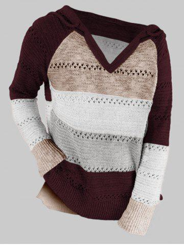 Plus Size Colorblock Raglan Sleeve Hooded Slit Sweater - DEEP RED - XL