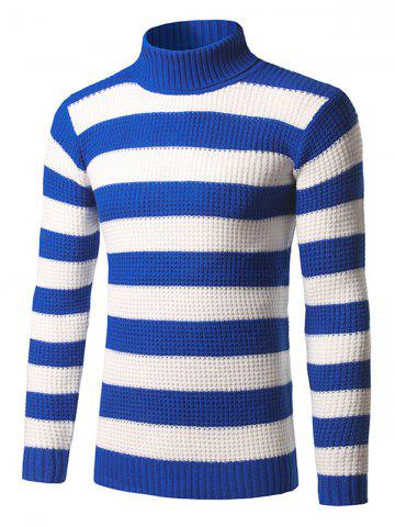 Turtleneck Striped Knit Pullover Sweater - BLUE - XS