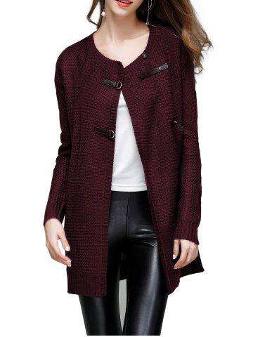 Buckled Detail Sweater Coat - DEEP RED - XL