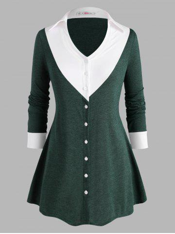 Button Up Heathered Colorblock Plus Size Top - GREEN - 5X