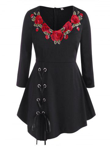 Lace Up Floral Embroidered Patched Plus Size Skirted Top - BLACK - 1X