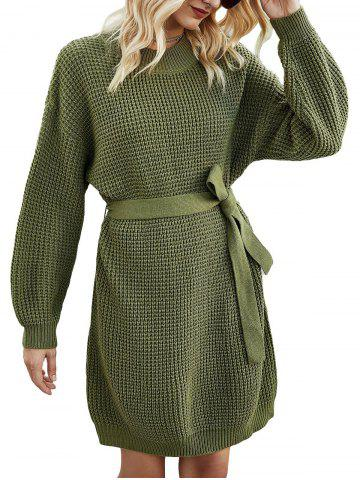 Crew Neck Belted Jumper Dress