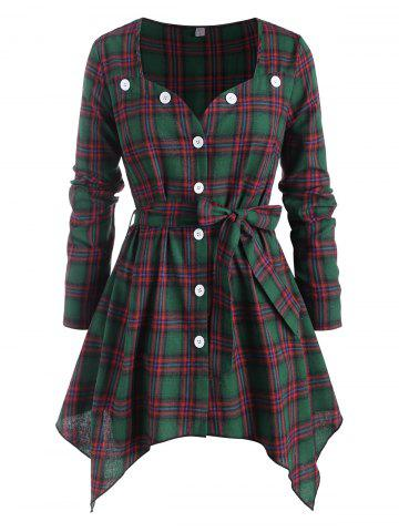 Sweetheart Button Up Belted Plaid Plus Size Blouse - GREEN - 5X