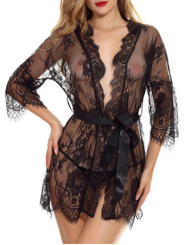 Lace Ribbon Belt Lingerie Robe Set - BLACK - 2XL